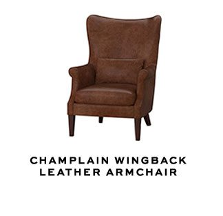 CHAMPLAIN WINGBACK LEATHER ARMCHAIR