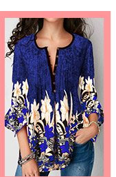 Button Up Printed Flare Sleeve Blouse