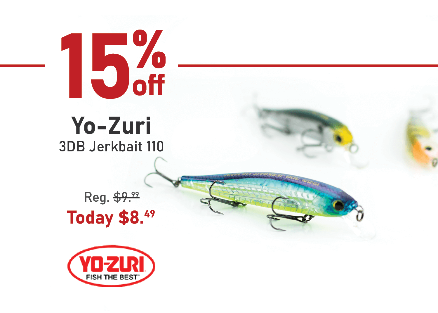 Take 15% off the Yo-Zuri 3DB Jerkbait 110