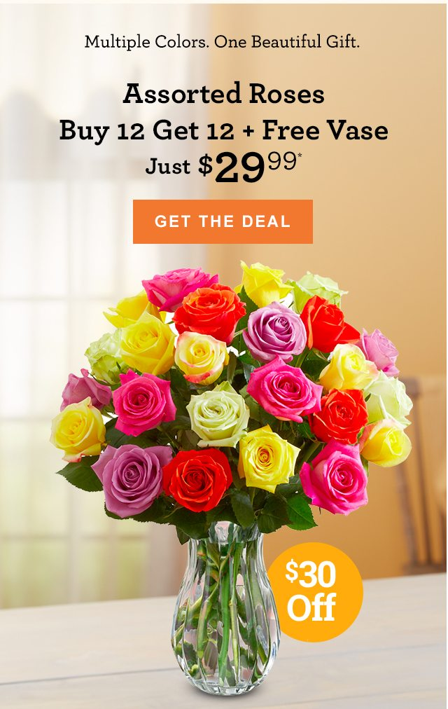 Now Just $29.99: 24 Assorted Roses + Free Vase! - 1-800-FLOWERS.COM Email Archive