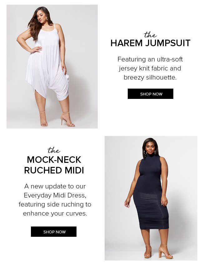 The Harem Jumpsuit and The Ruched Mock-Neck Midi Dress