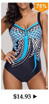 Open Back Geometric Print One Piece Swimwear