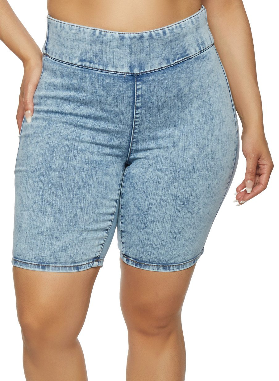 Plus Size Almost Famous Denim Bermuda Biker Shorts