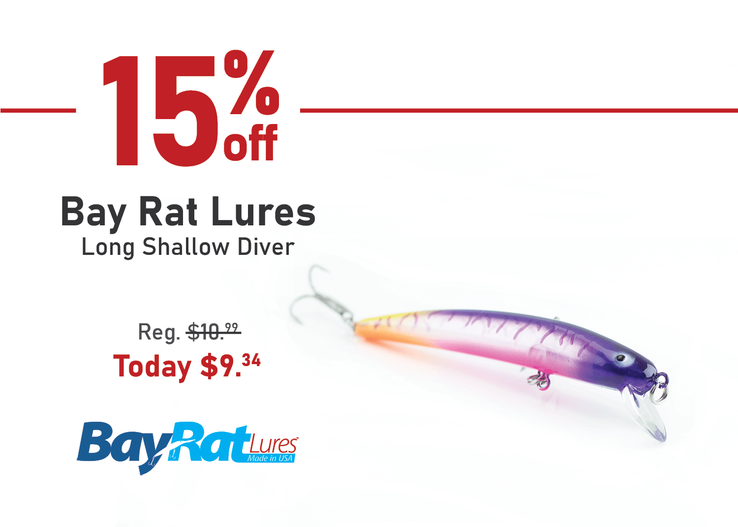 Save 15% on the Bay Rat Lures Long Shallow Diver