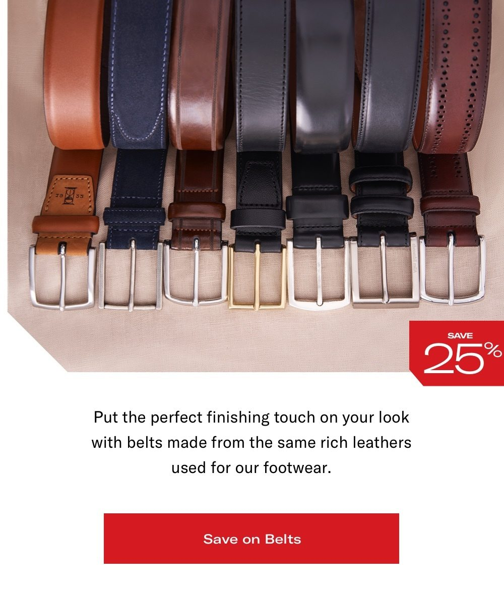 Save Up To 25% on Belts