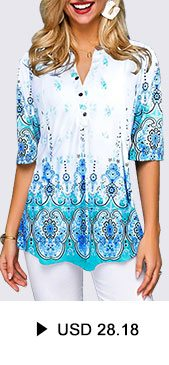 Button Front Tribal Print Split Neck Blouse