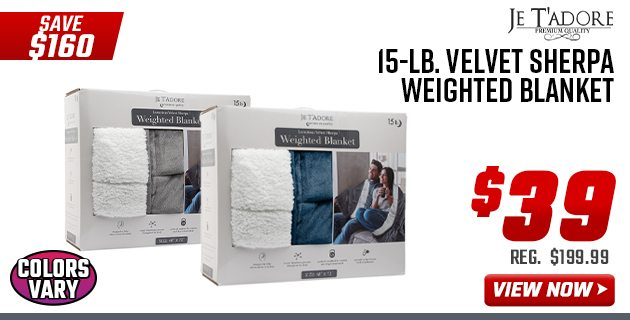 Je T'adore 15-lb. Velvet Sherpa Weighted Blanket