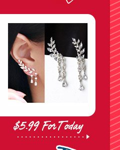 Elegant Leaf Rhinestone Cuff Earrings
