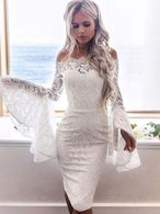 Off The Shoulder Lace Dress Bell Sleeve Shaping Party Dress
