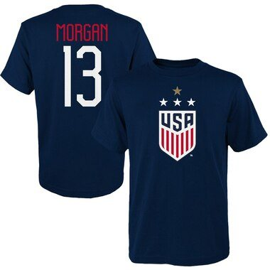 Alex Morgan USWNT 2019 FIFA Women's World Cup Champions Name & Number T-Shirt – Navy