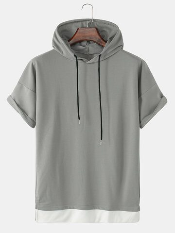 Contrast Faux Twinset Hooded T-Shirts