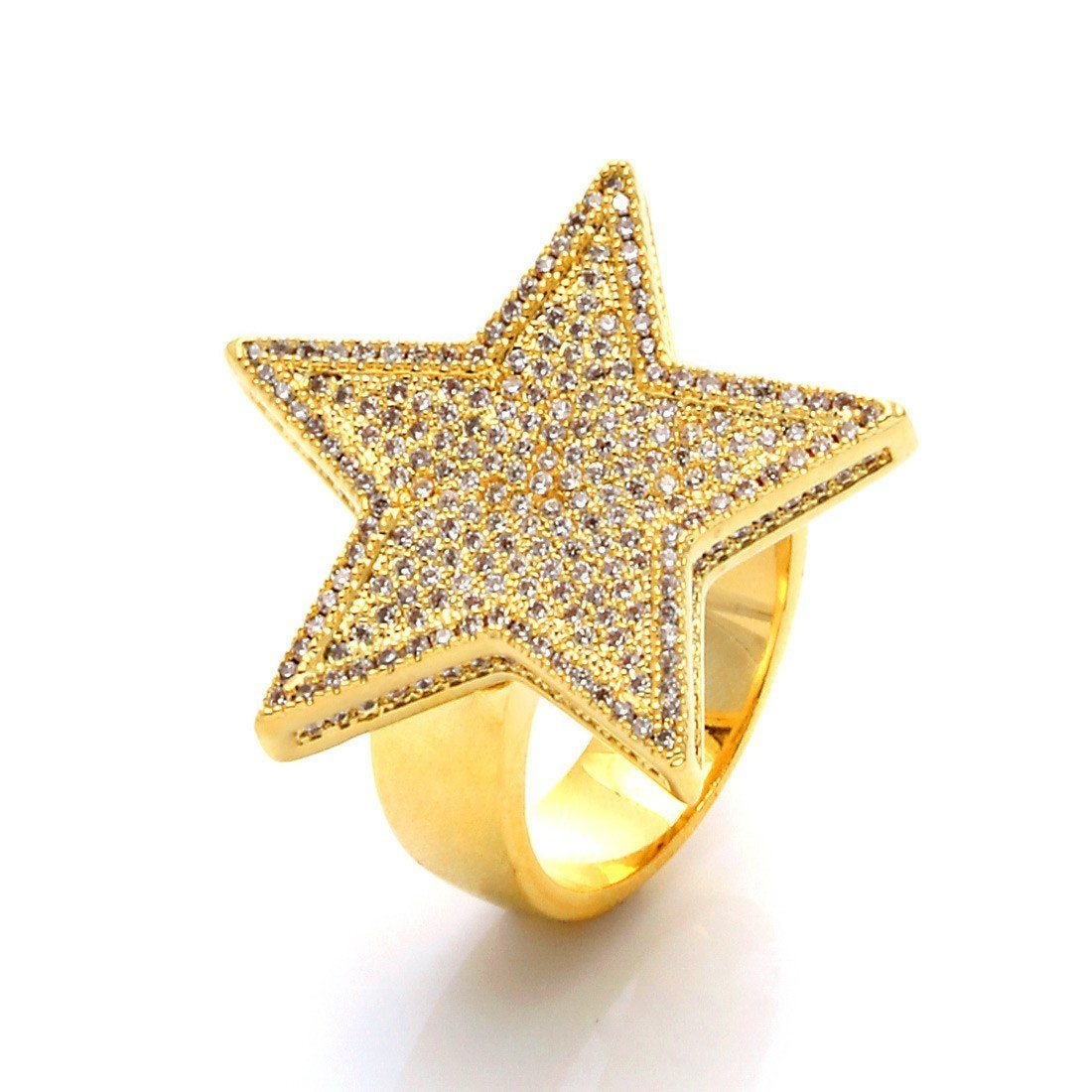 Image of 14K Gold 5-Pointed CZ Star Ring