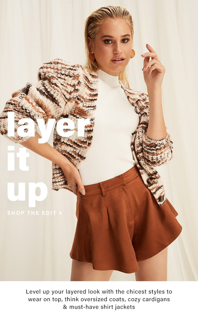 Layer It Up: Level up your layered look with the chicest styles to wear on top, think oversized coats, cozy cardigans & must-have shirt jackets - Shop the Edit
