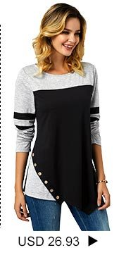 Button Detail Long Sleeve Asymmetric Hem T Shirt