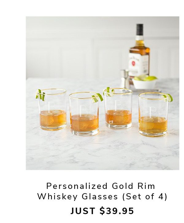 Personalized Gold Rim Whiskey Glasses | SHOP NOW