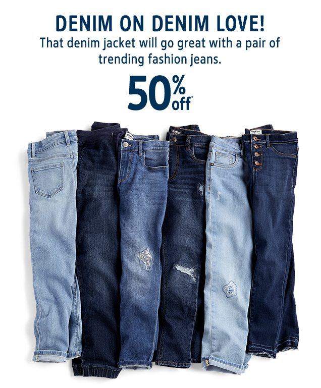 DENIM ON DENIM LOVE! | That denim jacket will go great with a pair of trending fashion jeans. | 50% off*