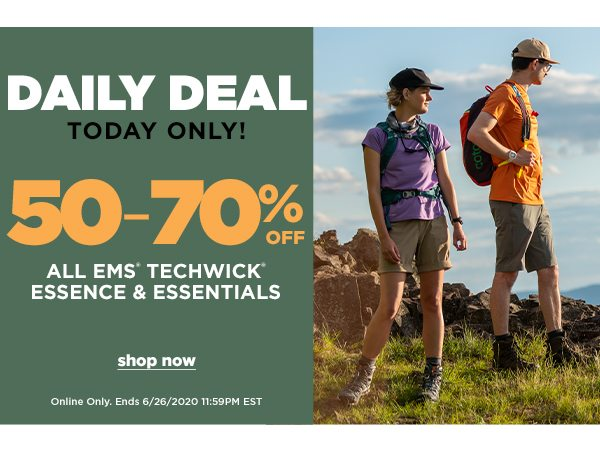 Daily Deal: 50-70% OFF All EMS Techwick Essence & Essentials - Online Only - Click to Shop