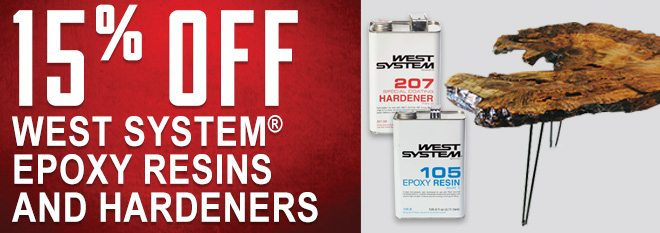 15% Off West System Epoxy Resins and Hardeners