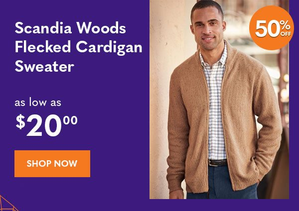 Men's Scandia Woods Flecked Cardigan Sweater as low as $20