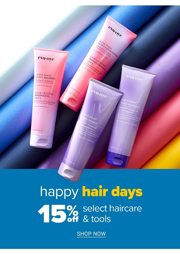 Happy hair days - 15% off selct haircare & tools. Shop Now.