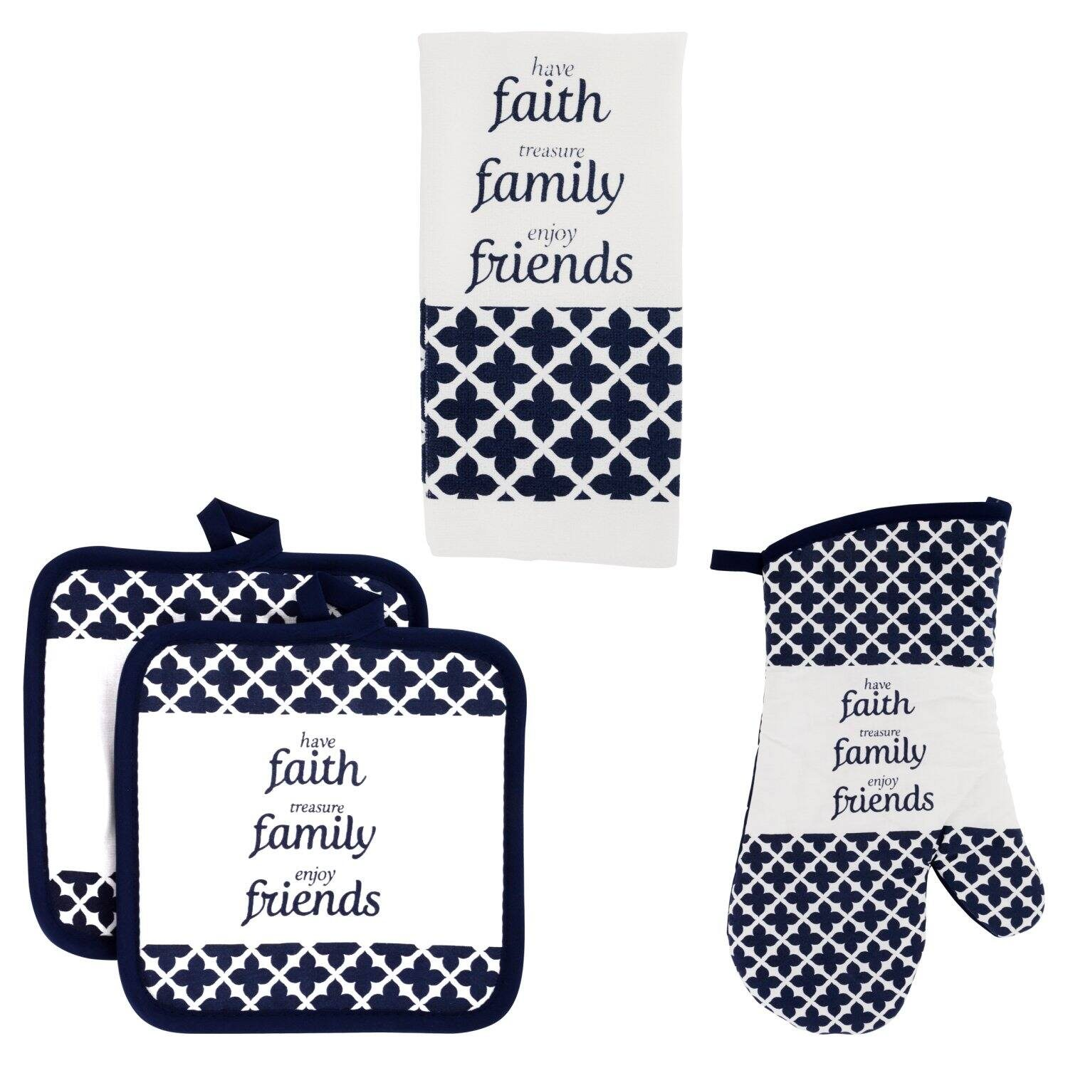 Home Collection Navy Blue Lattice Pattern Kitchen Linen Collections