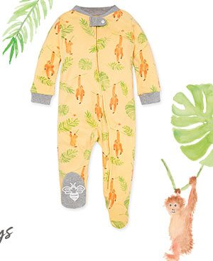 Little Monkeys Organic Baby Zip Front Loose Fit Footed Pajamas