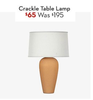 Matte Honey Crackle Table Lamp Was: $195, Now: $65