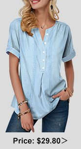 Split Neck Button Front Denim Blouse