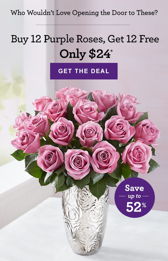 For You Two Dozen Purple Roses Just 24