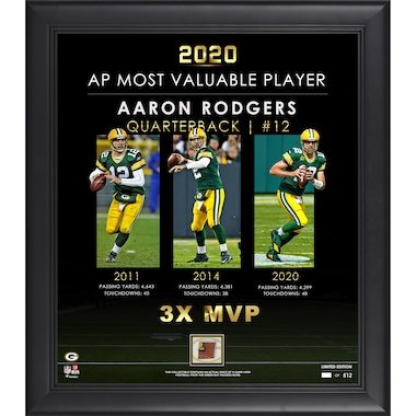 """Aaron Rodgers Green Bay Packers Fanatics Authentic Framed 15"""" x 17"""" 3-Time MVP Collage with a Piece of Game-Used Football - Limited Edition of 512"""