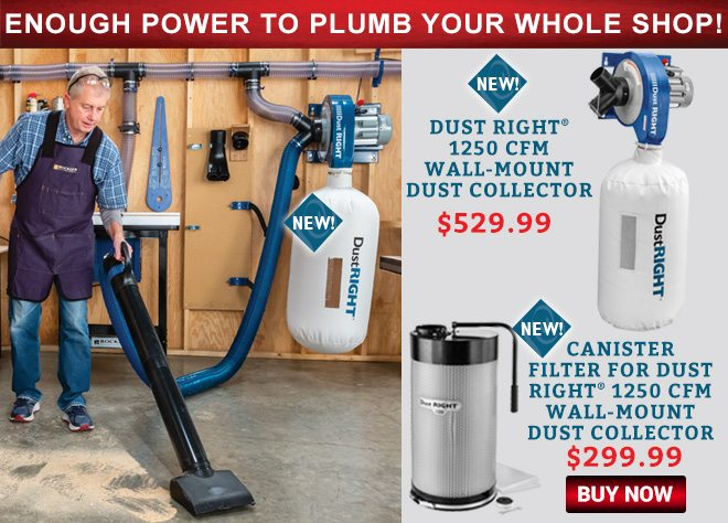 Enough Power To Plumb your Whole Shop! Dust Right 1250 CFM Wall-Mount Dust Collector and Cannister