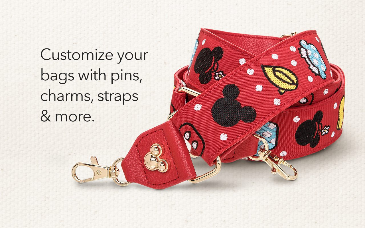 Customize your bags with pins, charms, straps & more. SHOP NOW