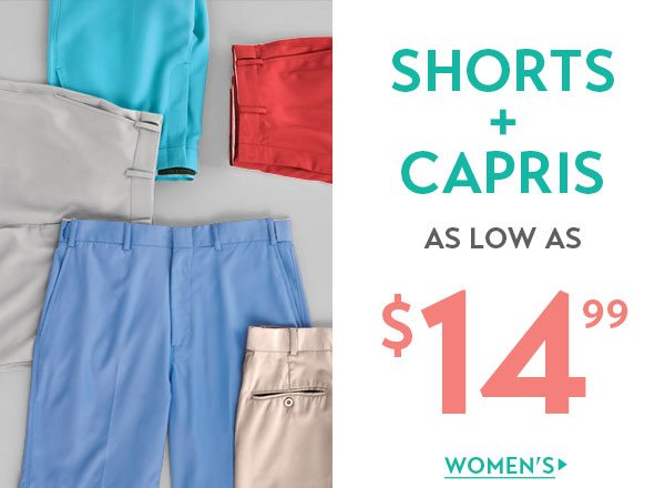 Women's Shorts & Capris as low as $14.99