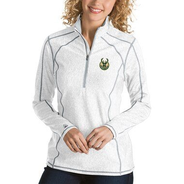 Antigua Milwaukee Bucks Women's White Tempo Half-Zip Pullover Jacket