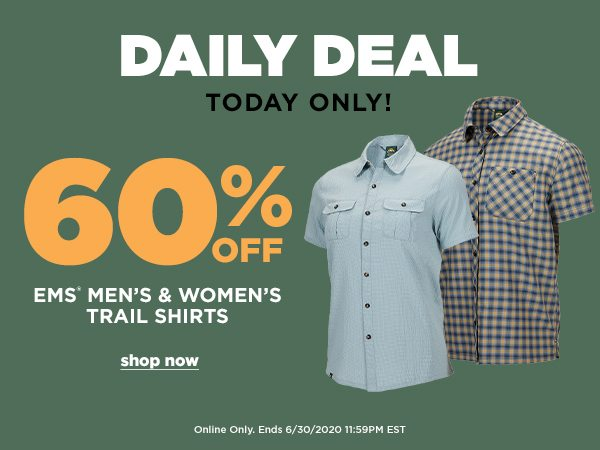 Daily Deal: 60% OFF EMS Men's & Women's Trail Shirts - Online Only - Click to Shop