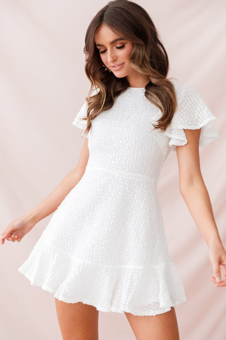 Isabelle Angel Sleeve Empire Dress White