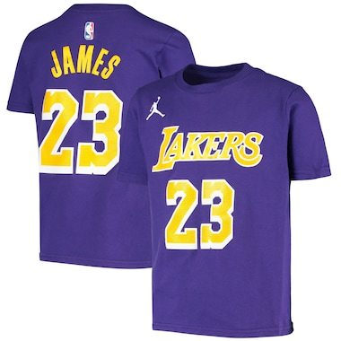 LeBron James Los Angeles Lakers Jordan Brand Youth Statement Edition Name & Number T-Shirt - Purple