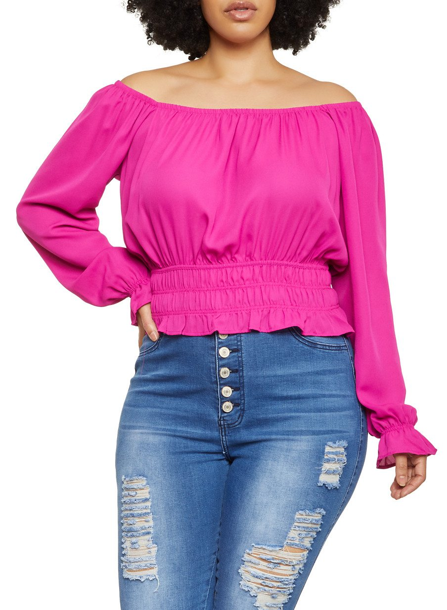 Plus Size Smocked Waist Off the Shoulder Top