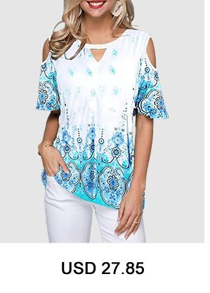 Keyhole Neckine Cold Shoulder Tribal Print Blouse