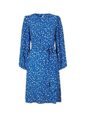Marty floral print dress in sustainable viscose blue