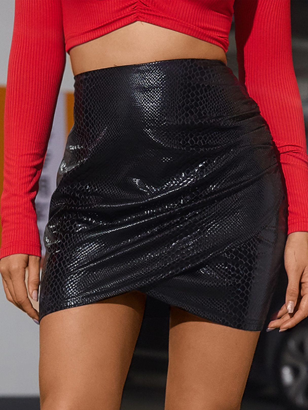 Black Snakeskin Faux Leather Slit Hem Skirt