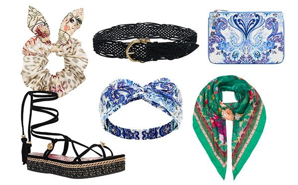 CAMILLA scrunchie, headband, scarf, belt, sandal and coin purse in mixed prints.
