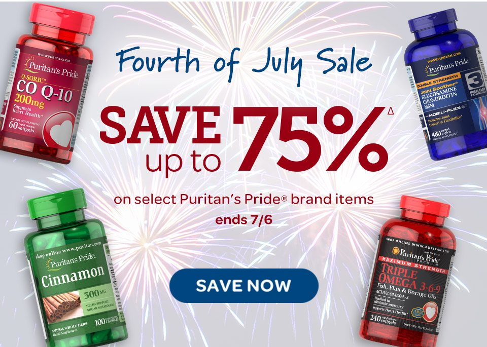 Fourth of July Sale - Save up to 75%Δ on select Puritan's Pride® brand items. Ends 7/6. Save now.