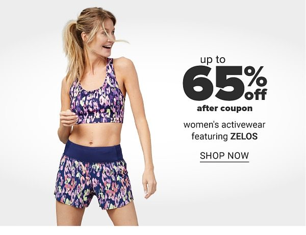 Up to 65% off after coupon women's activewear featuring ZELOS. Shop Now.