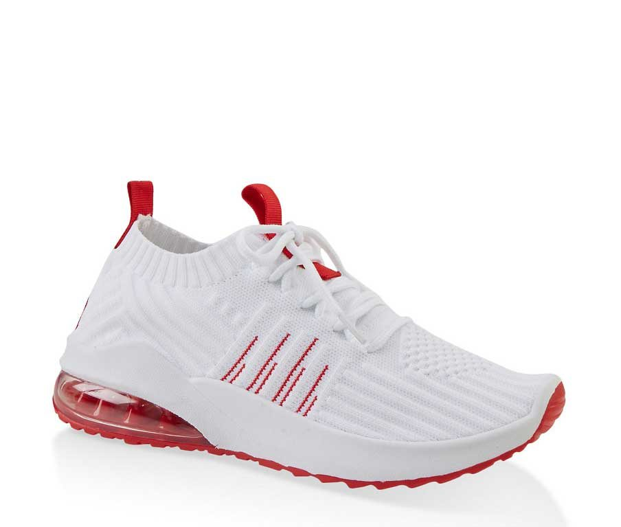 Knit Lace Up Air Cushion Sneakers