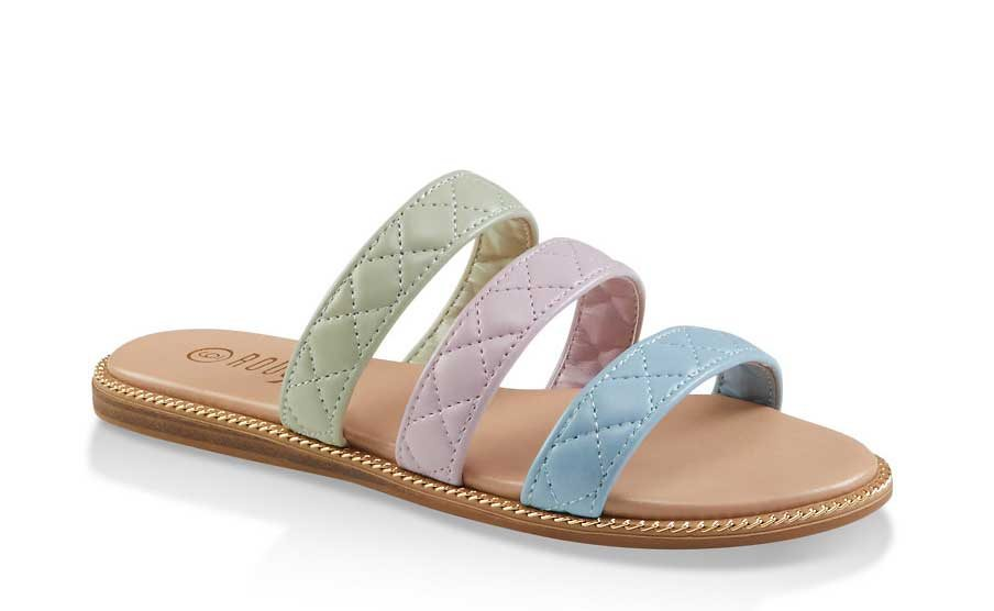 Quilted Triple Band Slide Sandals