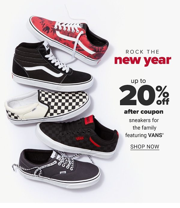 Rock the new year - Up to 20% off after coupon sneakers for the family featuring VANS. Shop Now.