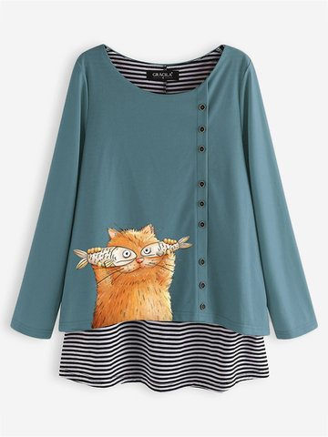 Cat Stripe Fake Two Pieces Blouse