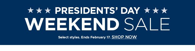 Presidents day weekend sale. shop now.
