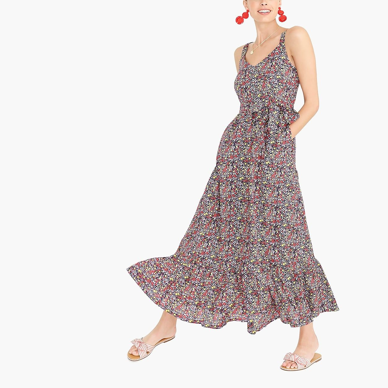 Printed tiered maxi dress in linen-cotton